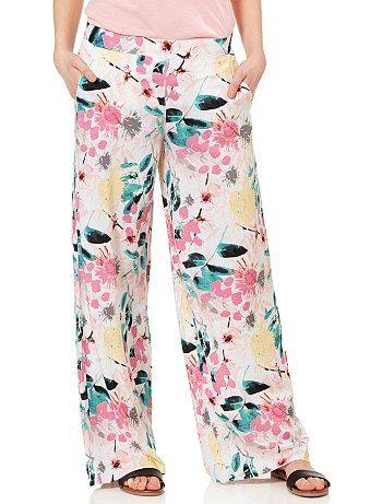 Pantalon Large Imprime Fleurs Femme Pantalons