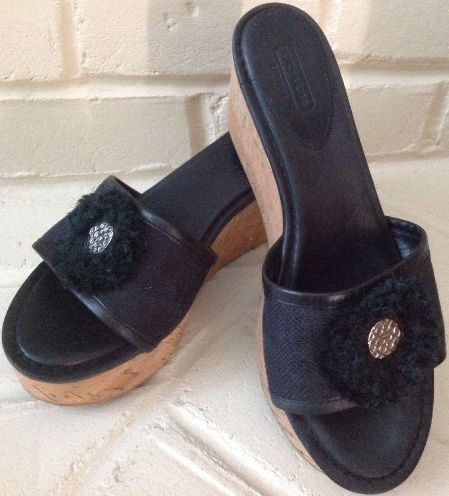 80827b07ef Coach Jazmin Cork Wedge Platform Sandals/Slide Black Leather/Canvas sz 91/2  9.5 #Coach #PlatformsWedges