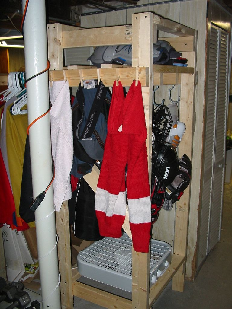This Is What I Ve Been Looking For Easy And Inexpensive To Make Drying Rack For My Two Hockey Players Stinky Wet Gear Hockey Mom Hockey Stick Hockey Room