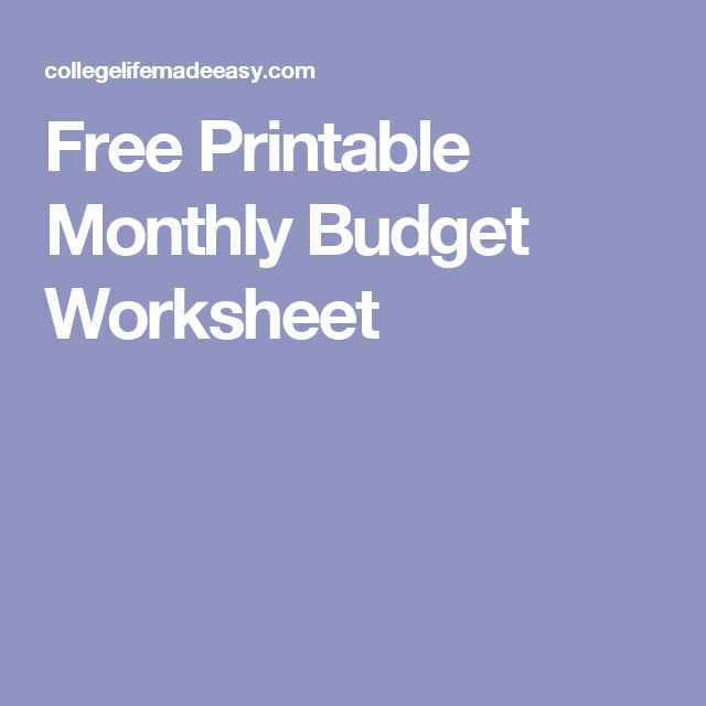 Free Printable Monthly Bud Worksheets