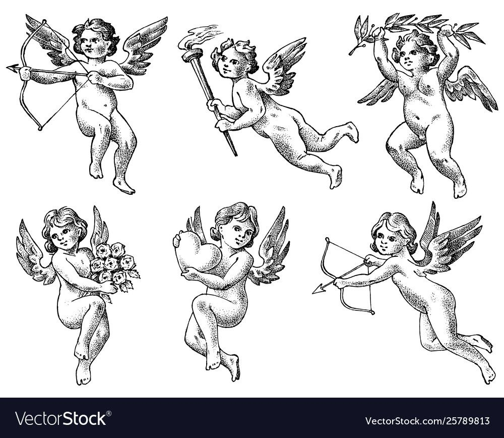 Cute angels with arrows and bow small aesthetic vector image on VectorStock