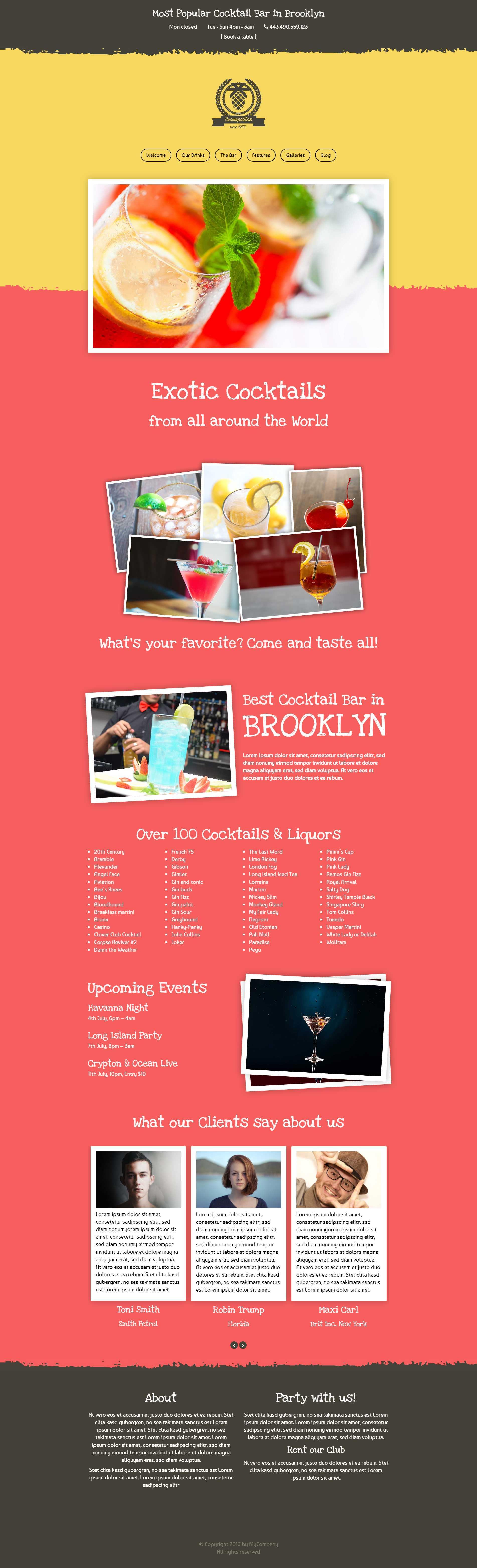 Cosmopolitan a new Cocktail Bar WordPress Theme