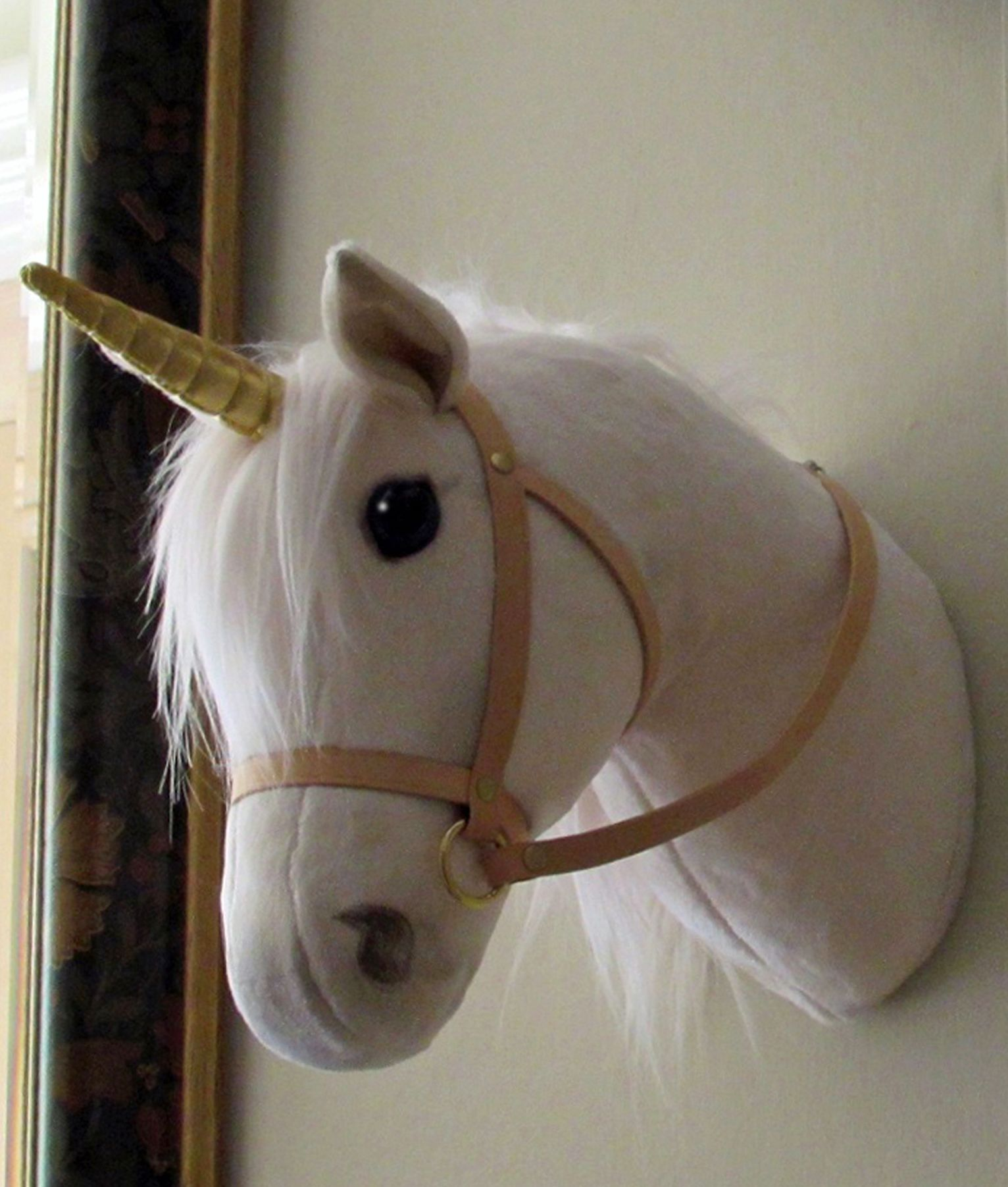 Unicorn Horse Head With Natural Leather Bridle And Gold