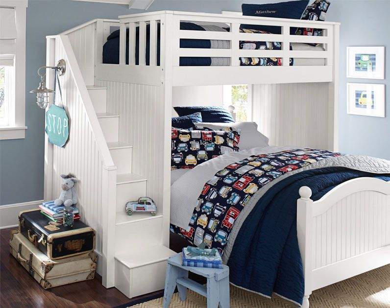 The Perfect Bedroom For Kids Who Love Cars Airplanes And Things That Go Shared Bedrooms Bunk Bed With Desk Shared Bedroom