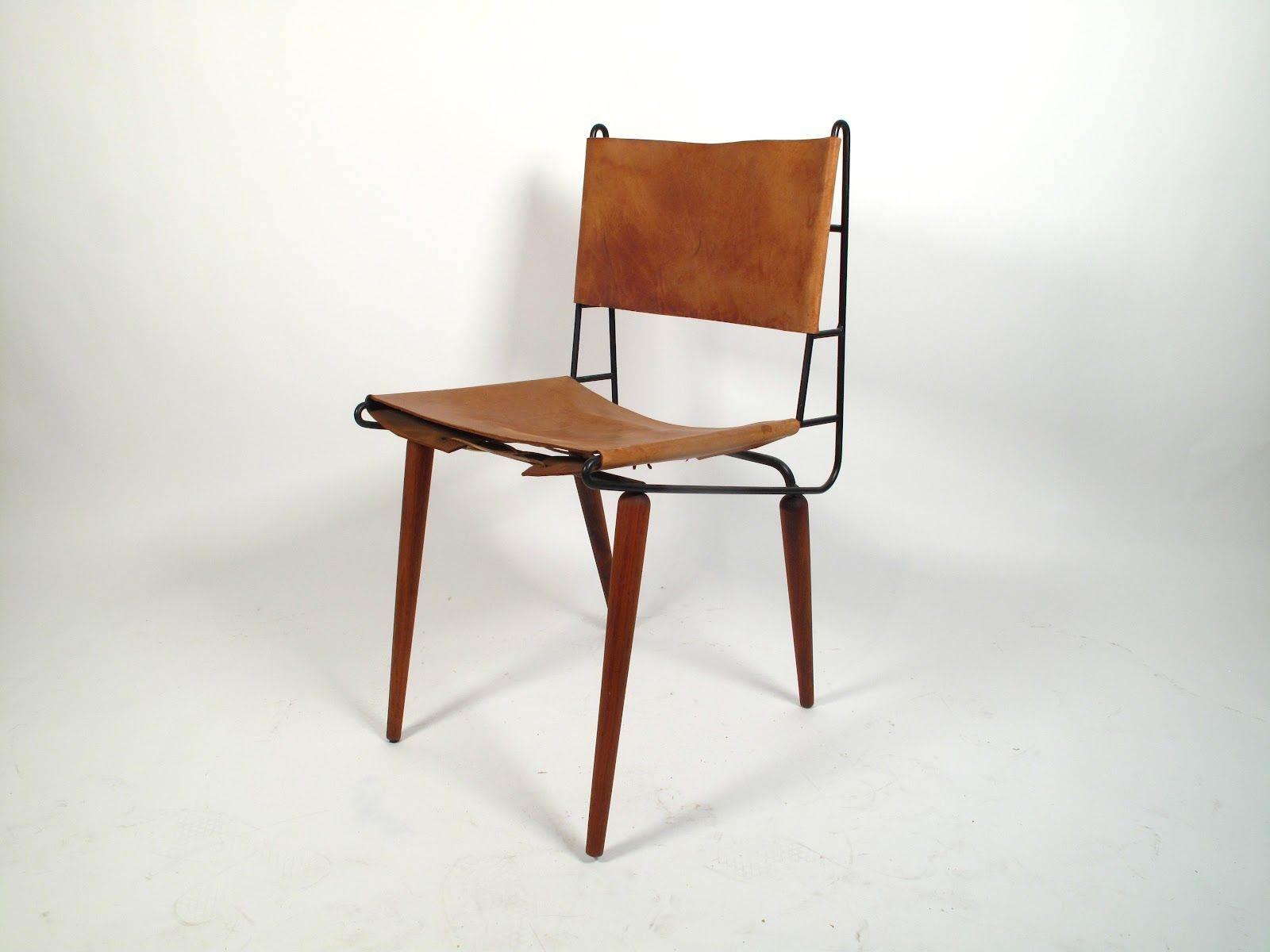 Just in Modern: Allan Gould Leather & Iron Side Chair 1950 ...