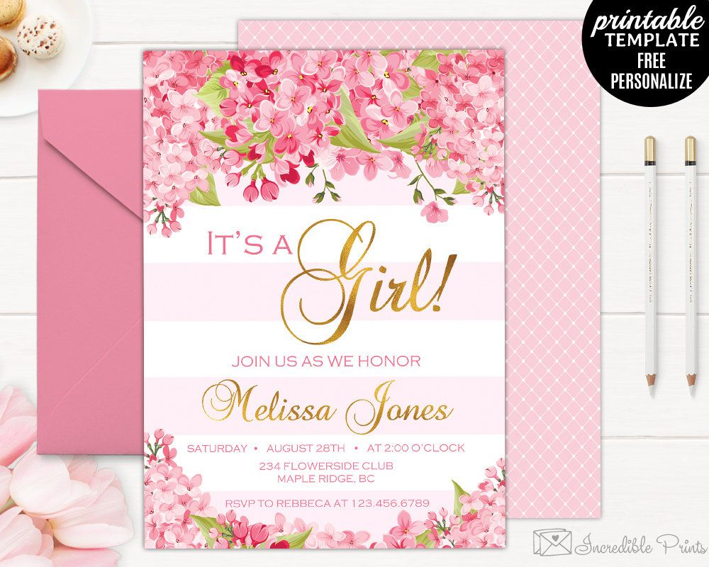 Spring Flowers Baby Shower Invitation Template Gold And Pink Fl Showe By