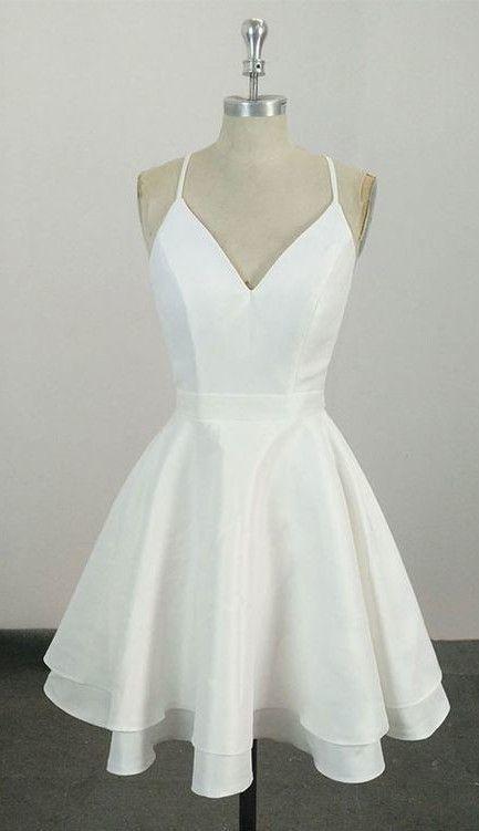 Knee Length Spaghetti Straps White Homecoming Dress,Short Party Dress ML592