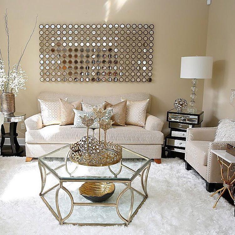 Founder Of Inspire Me Home Decor Design Expert Stylist Farah Merhi Inspiremehomedecor Com Youtube Gold Living Room Glam Living Room Modern Glam Living Room