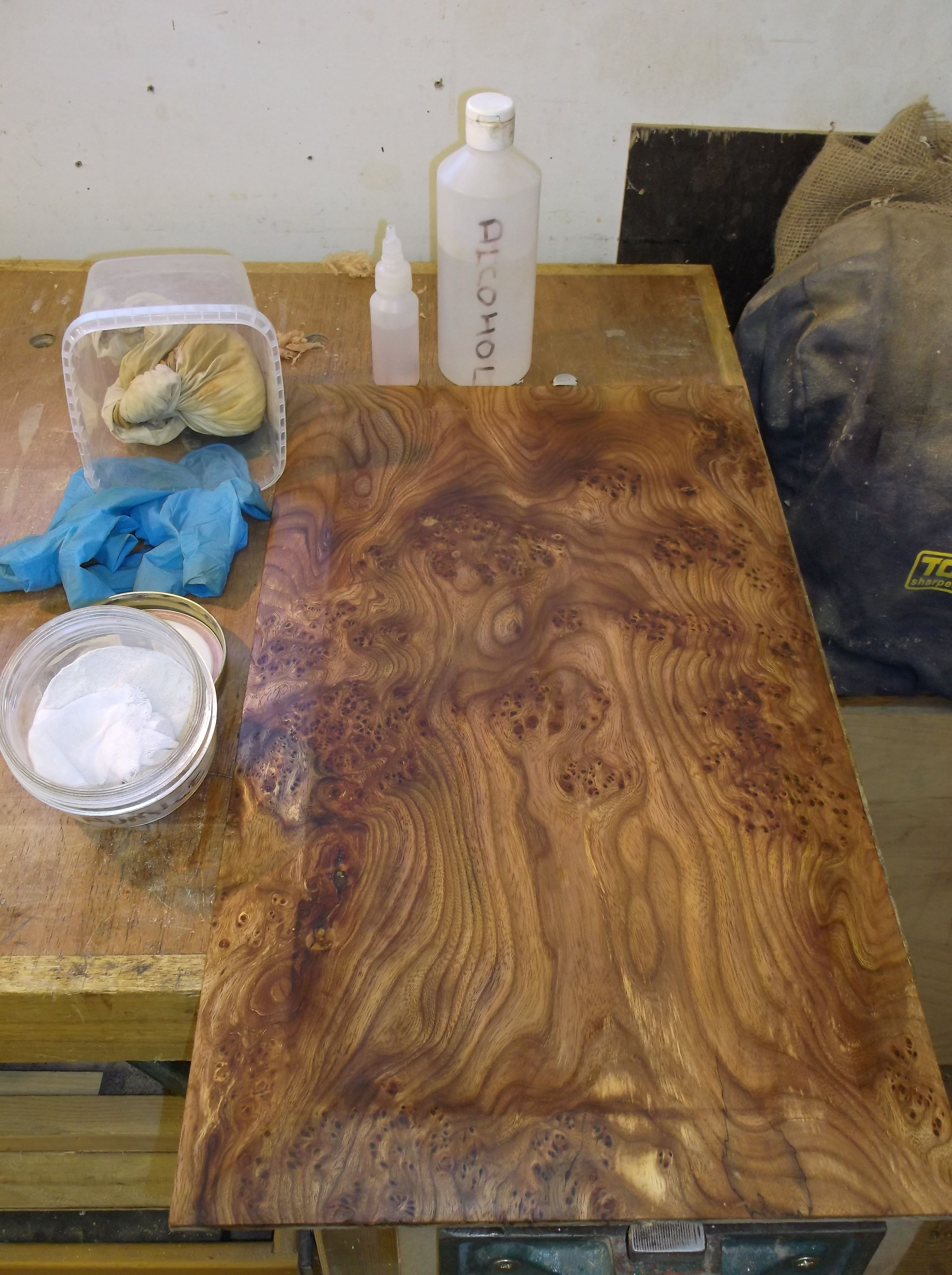 3 Take your board and flood it with mineral oil then liberally