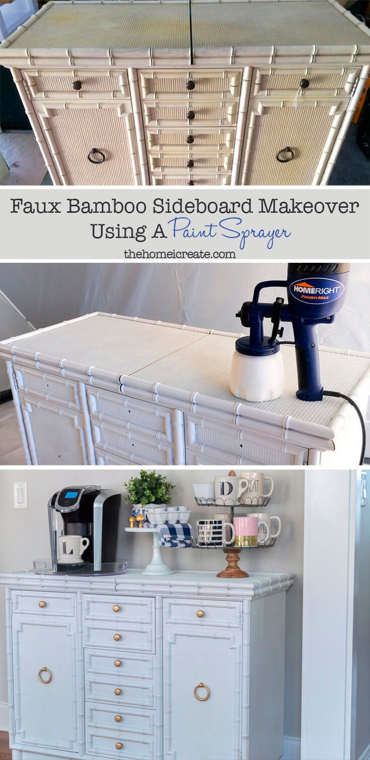 Faux Bamboo Sideboard Makeover