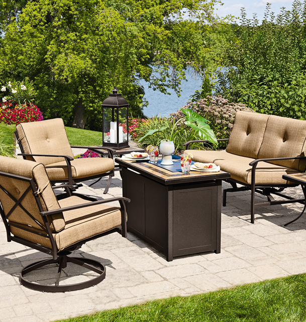 The NorthCrest Georgetown conversation set with firepit will make your  backyard parties even more fun! #shopko - The NorthCrest Georgetown Conversation Set With Firepit Will Make