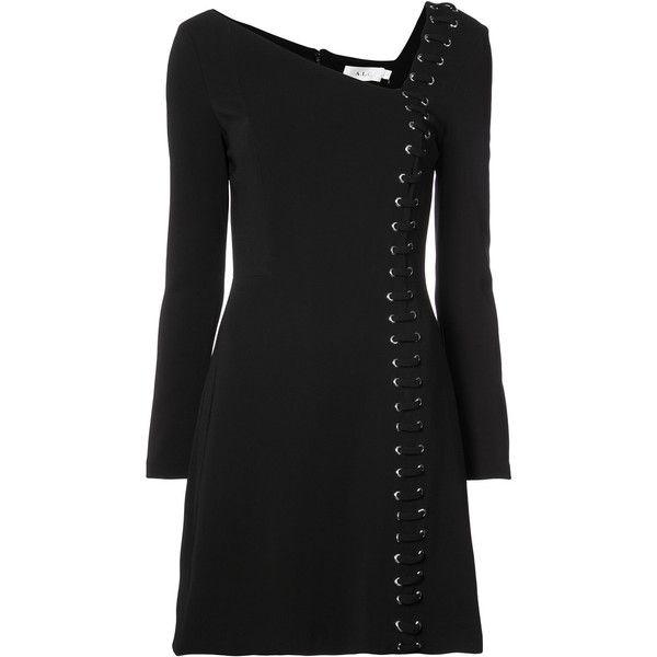 asymmetric neck lace-up mini dress - Black A.L.C. qGYfk