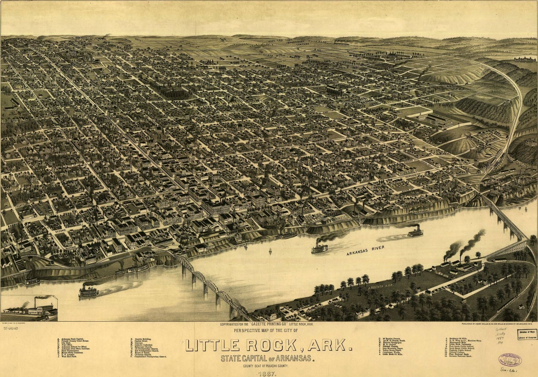 Vintage Map Little Rock Arkansas 1887