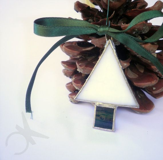 Christmas Tree decoration white and green art glass made by hand