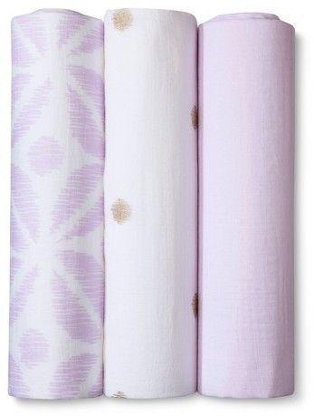 Cloud Island Muslin Swaddle Blankets Pretty In Purple 3pk Cloud Island Purple Muslin Swaddle Blanket Swaddle Blanket Putting Baby To Sleep