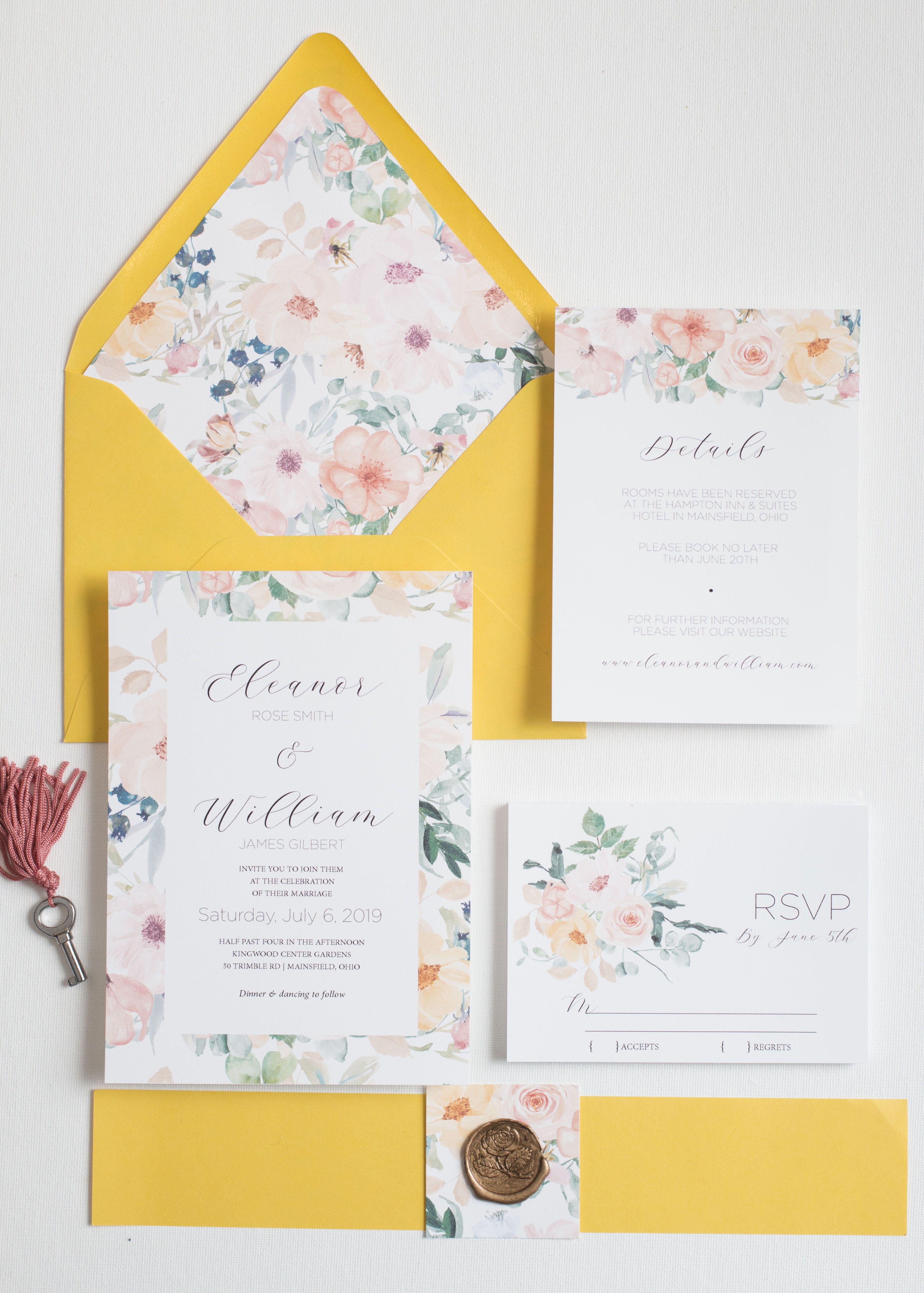 Yellow Floral Wedding Invitations Yellow Wedding Invitations Spring Wedding Summer Wedding