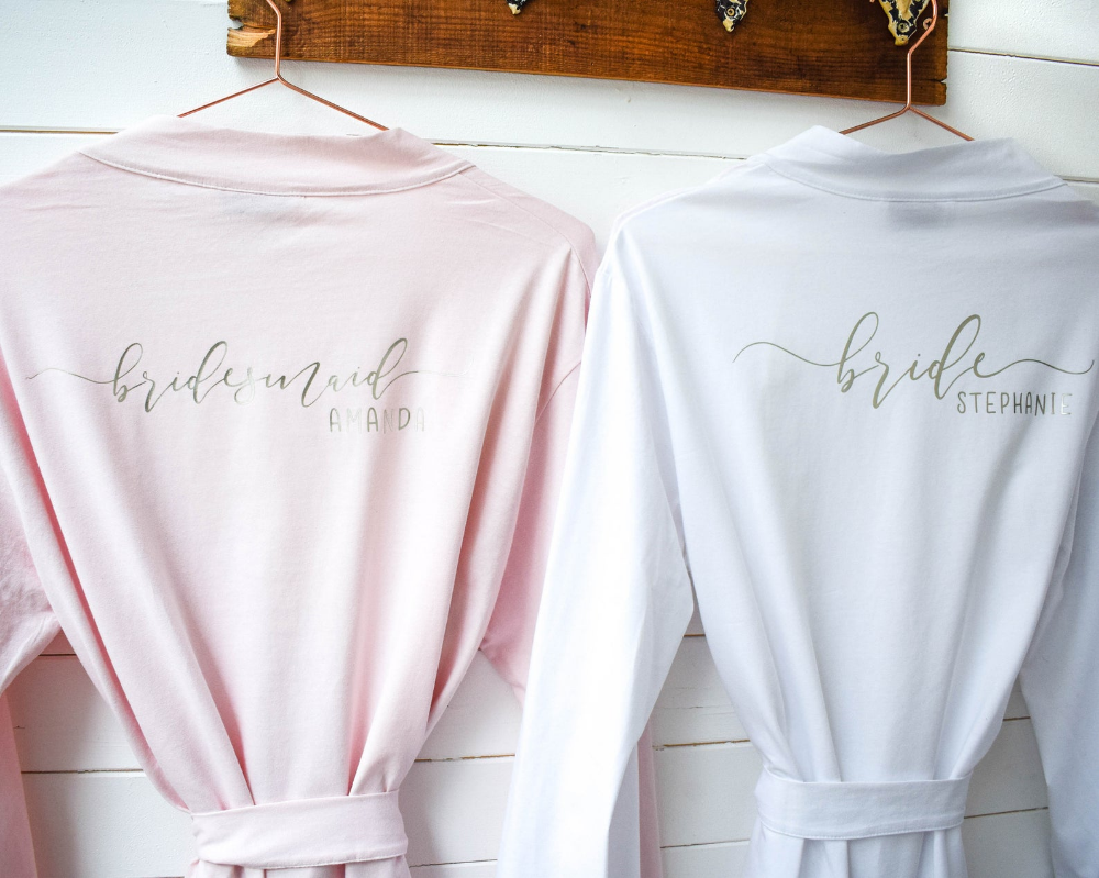personalised bridal robes