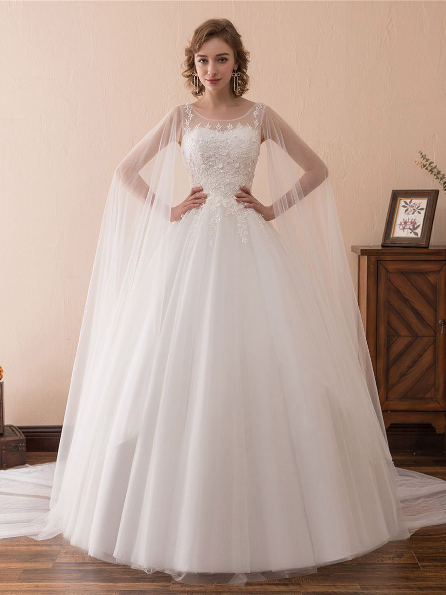 Only 159 Ball Gown Wedding Dresses Simple Tulle Lace Ballroom Wedding Gowns With Cape Train Ch Cape Wedding Dress Ball Gowns Wedding Ball Gown Wedding Dress [ 1200 x 900 Pixel ]