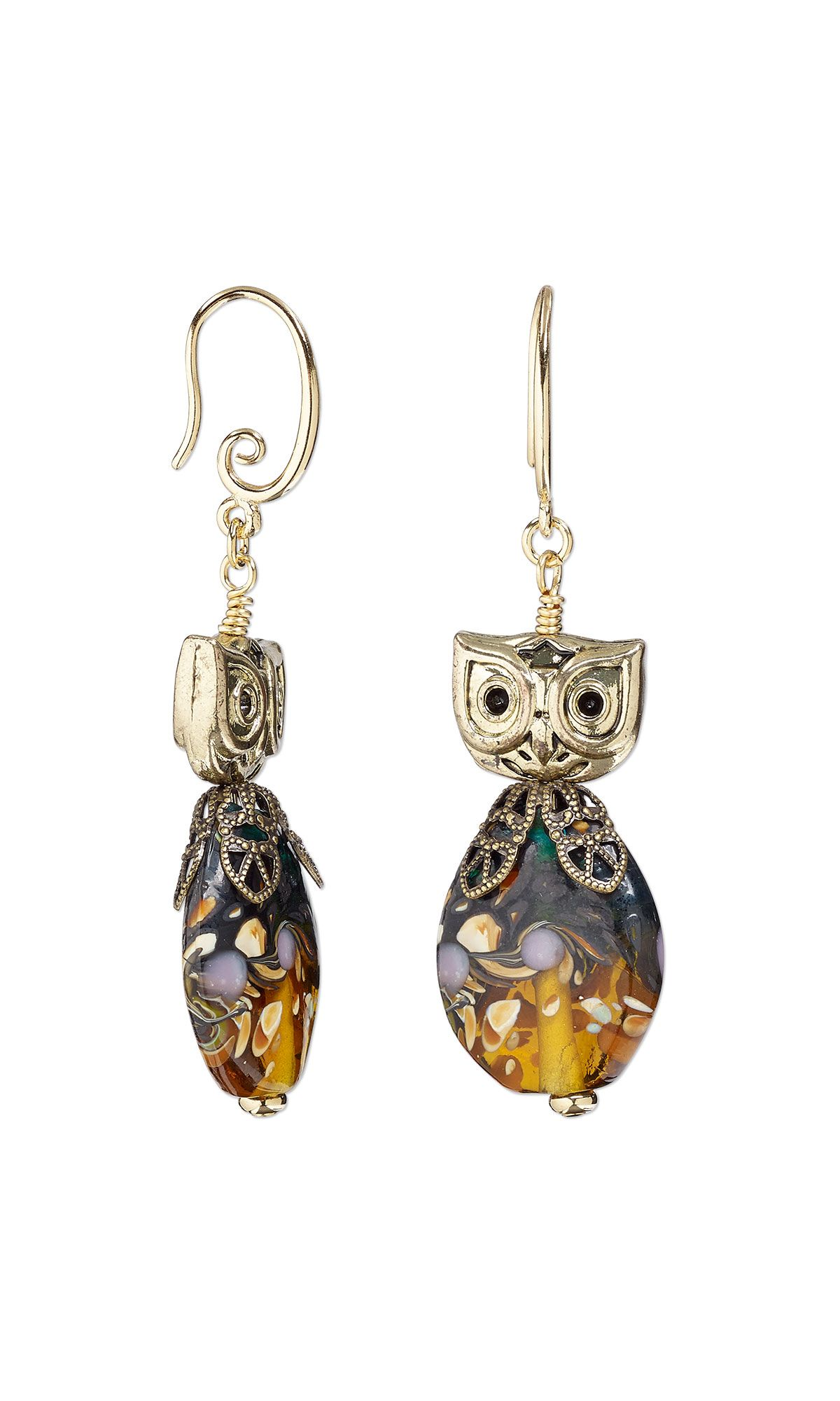 jewelry design earrings with antiqued gold finished pewter