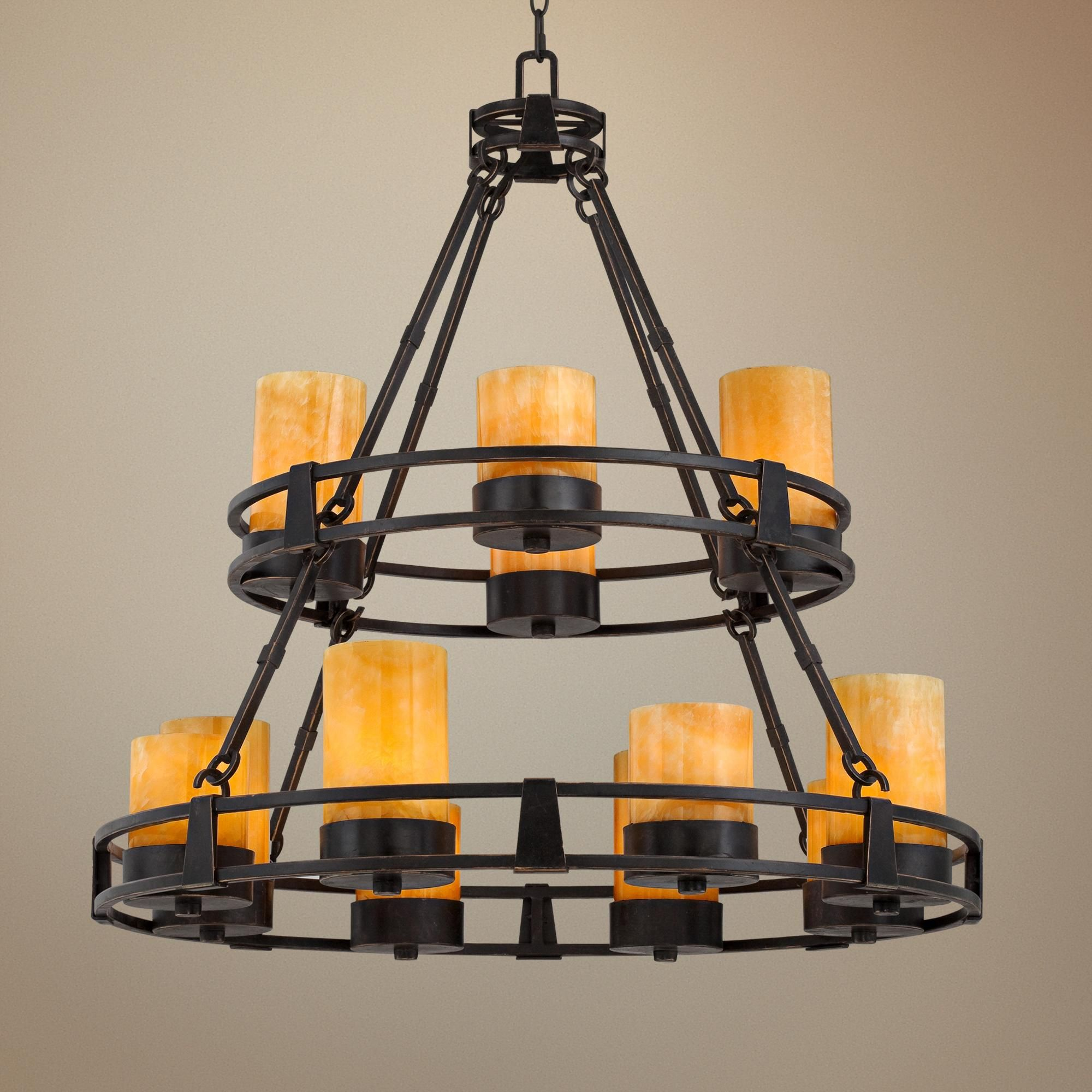 Sunset yx Stone 12 Light Faux Candle Chandelier Style R6623