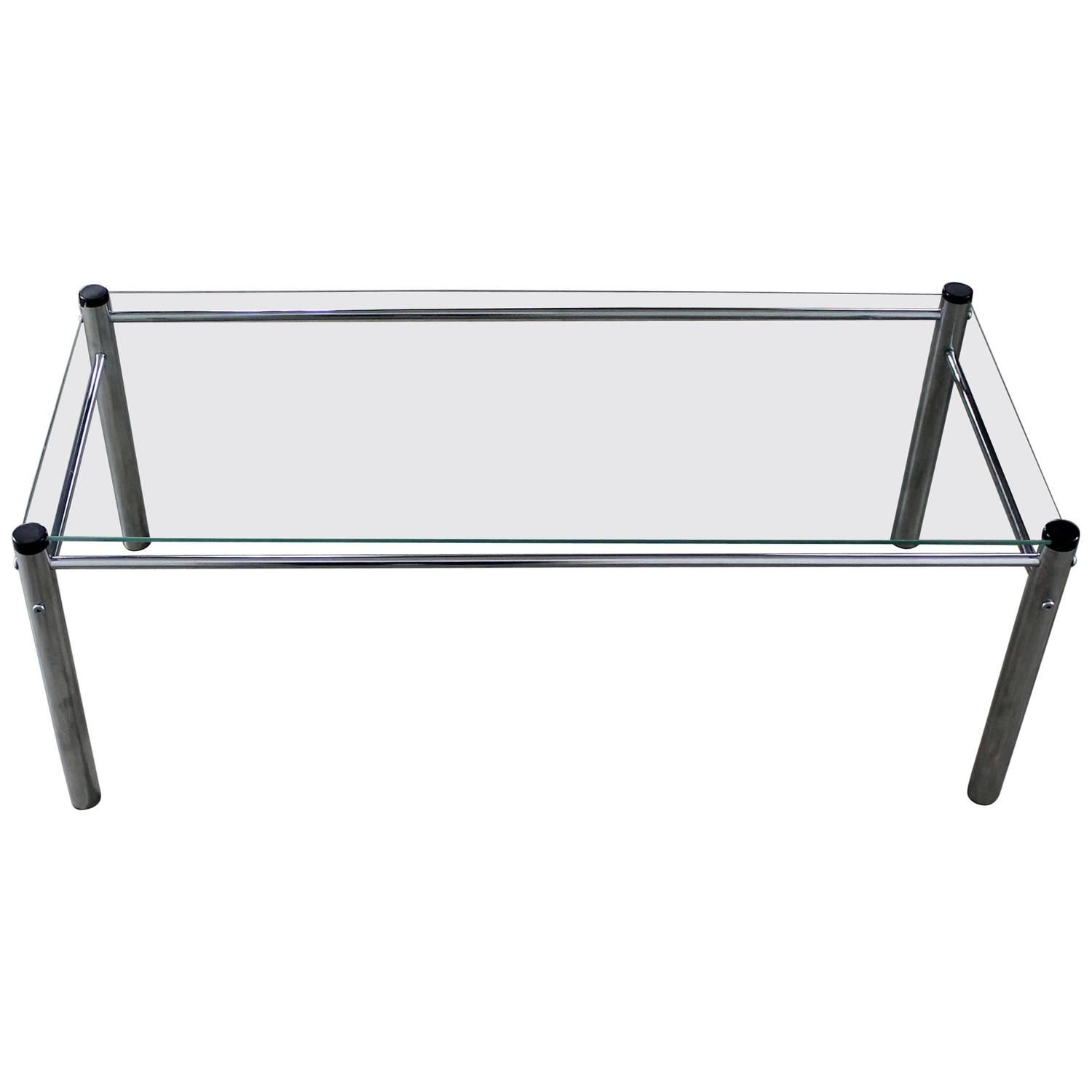 chrome and glass coffee table mid century modern attributed to james