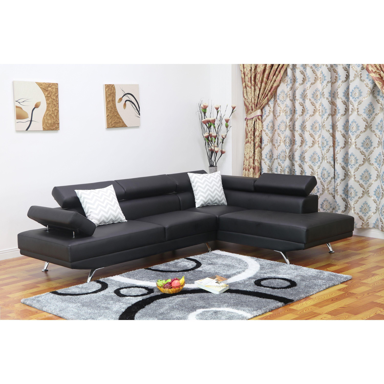 Dakodak Black Faux Leather 2 piece Sectional Sofa Set Left Chaise