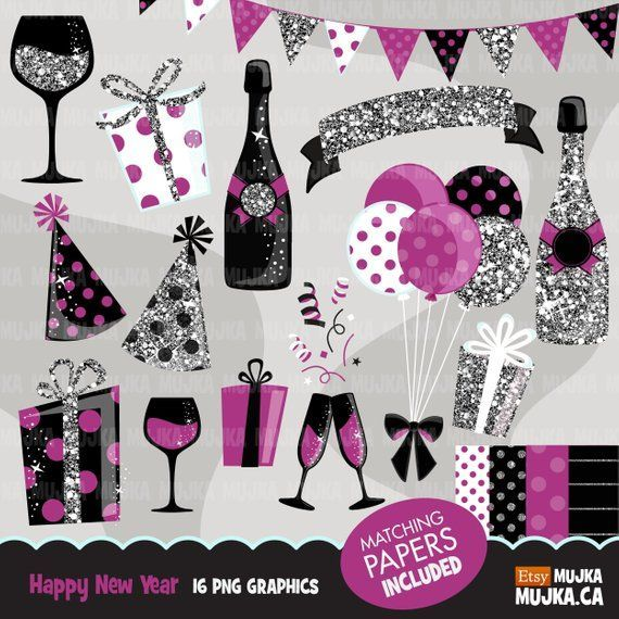 Happy New Year Celebration Clipart Silver Glitter Purple Graphics Gift Boxes Balloons Ba Glitter Gifts Scrapbooking Set Graphics Gift