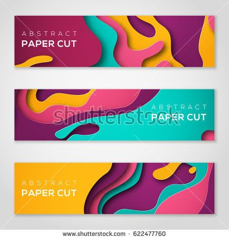 Horizontal banners with 3D abstract background with paper cut shapes - fresh invitation banner vector