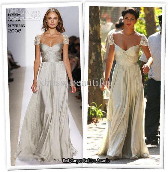 Jessica Szohr The Gossip Girl Ivory Reem Acra Spring 2008 Cap Sleeve Gown Beaded Celebrity Dresses on AliExpress.com. 15% off $130.05