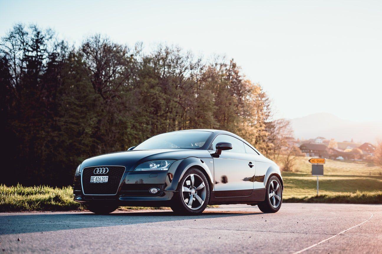 black Audi coupe parked on gray concrete road | Audi, Audi ...