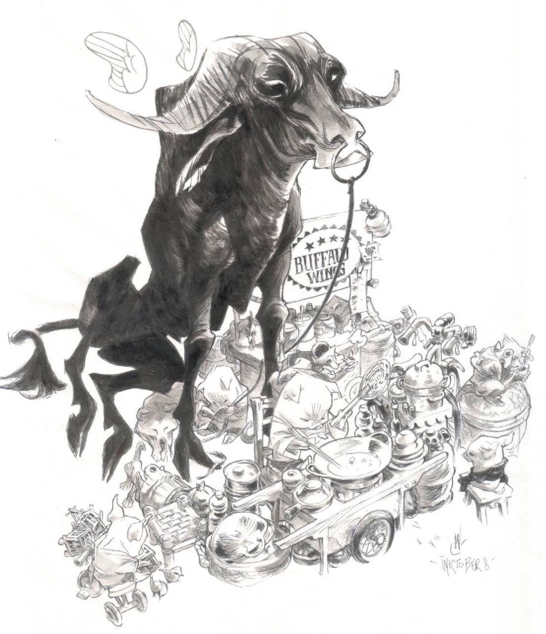 Inktober 8 buffalo wings ILLUSTRATION INSPIRATION