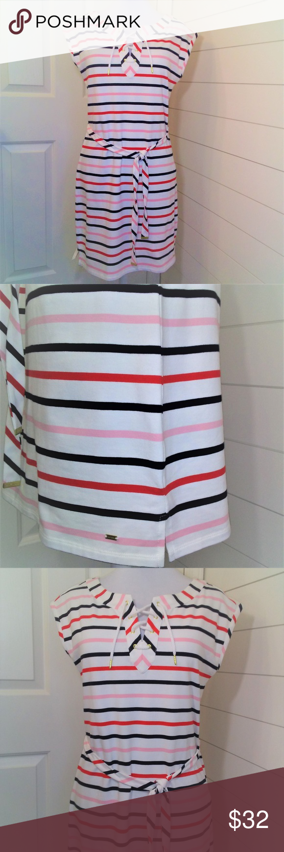 fc3d3bca41 Tommy Hilfiger Nautical Stripe Dress w Tie Belt M Tommy Hilfiger Nautical  Stripe Dress w Tie Belt. Women s size M. Red white blue and soft pink  stripes with ...