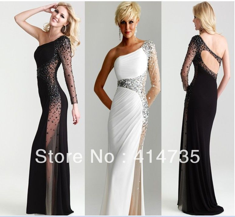 Unique black evening gowns with sleeve Custom white Evening Dress ...