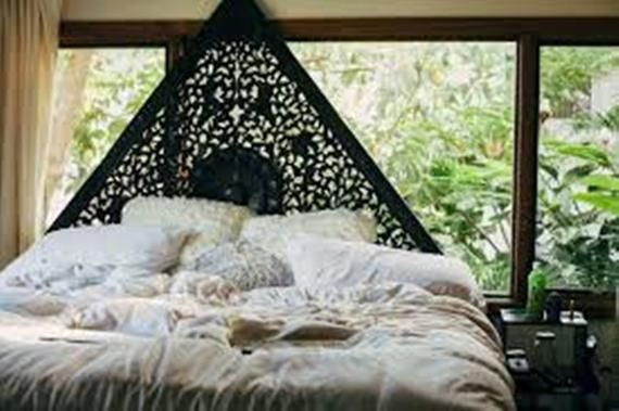 Triangle Queen Size Bed Bohemian Headboard Mandala Sculpture Lotus Flower Wooden Crave Carving Teak Wood Art Panel White Wall Decor Thailand