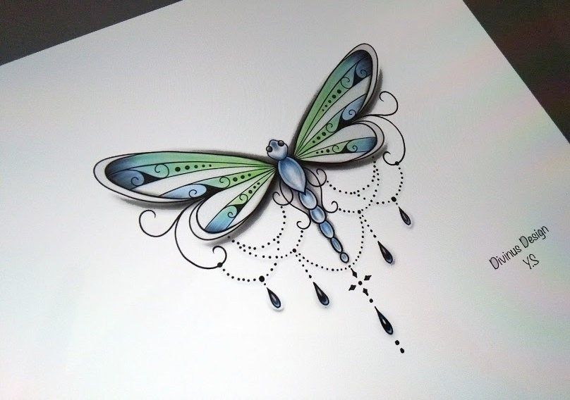 Dragonfly Tattoo Design and Stencil - Instant Digital Download
