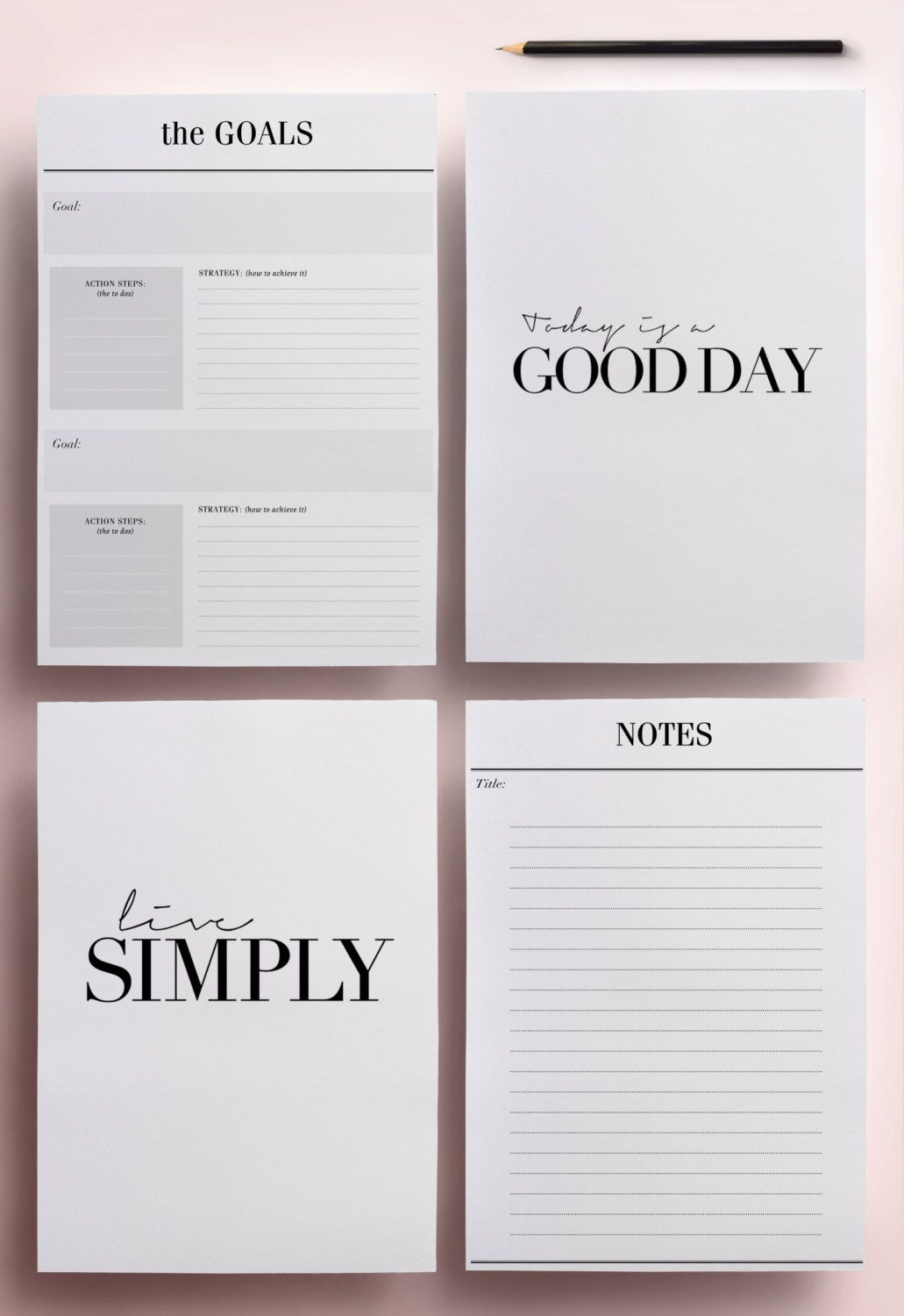 Minimal Planner A4 Agenda Inserts - 12 Printable Planners