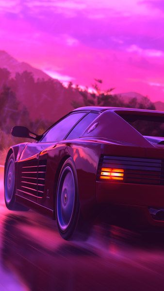 Ferrari Sports Car Neon Digital Art Retrowave Synthwave 4k Click Image For Hd Mobile And D Vaporwave Wallpaper Cool Wallpapers For Phones Car Wallpapers