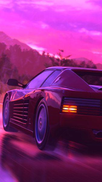 Ferrari Sports Car Neon Digital Art Retrowave Synthwave 4k Click Image For Hd Mobile And Desktop Wallpa Jdm Wallpaper Vaporwave Wallpaper Car Wallpapers