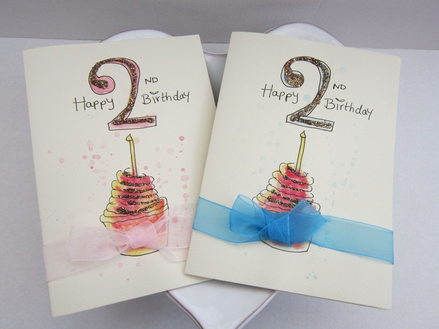 2nd Birthday Watercolour Card 2nd Birthday Card Hand Painted Card