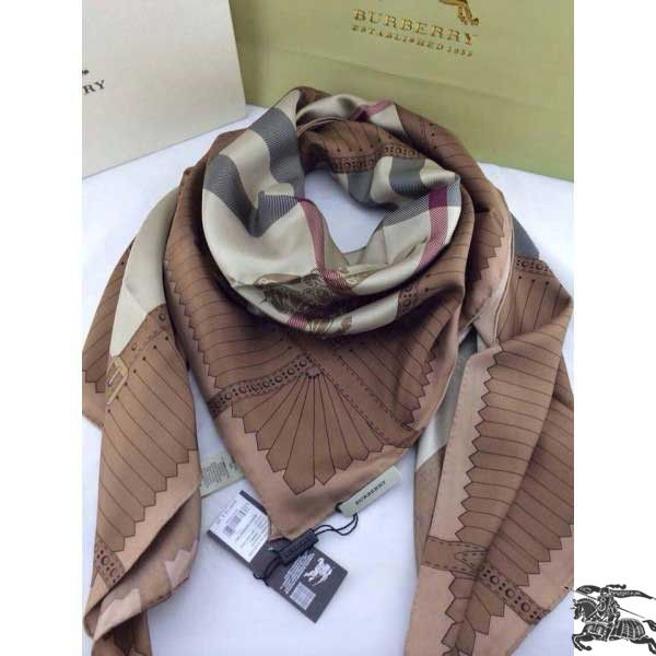 Burberry Silk Square Scarf Brown Sale BSIS05