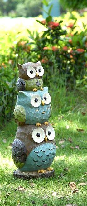 Owls Garden Statue Home Decor Idea Affiliate Outdoor Backyard Owl