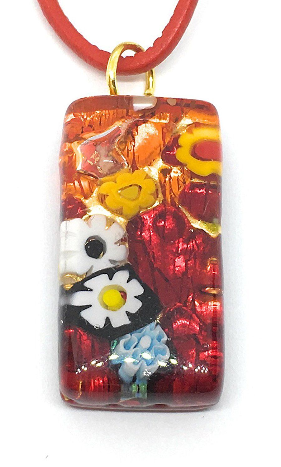 Murano glass pendant millefiori on gold leaf cm x cm with