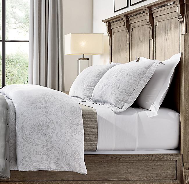 Castillo Medallion Cotton Linen Duvet Cover Duvet Cover Master Bedroom Linen Bedding Bed