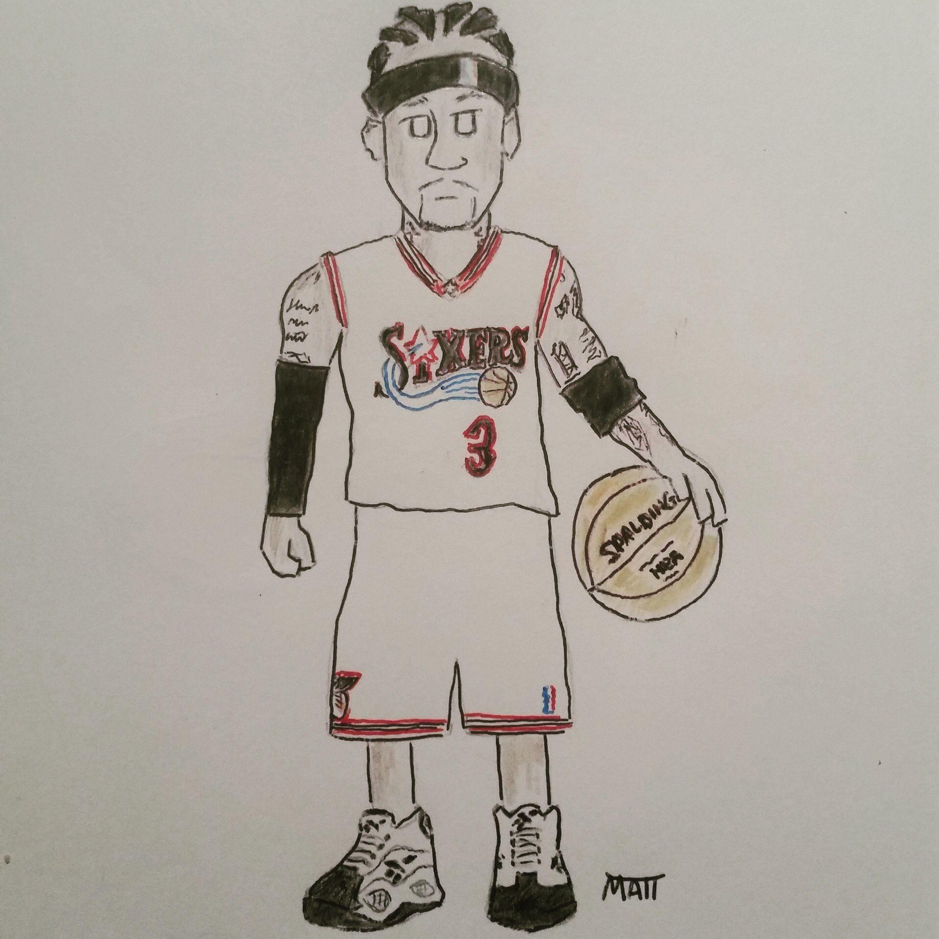 Allen Iverson - Philadelphia 76ers NBA   Cartoon ...
