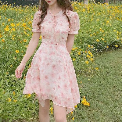 Pink Floral Chiffon Short Sleeves Dress from HIMI'Store #chiffonshorts