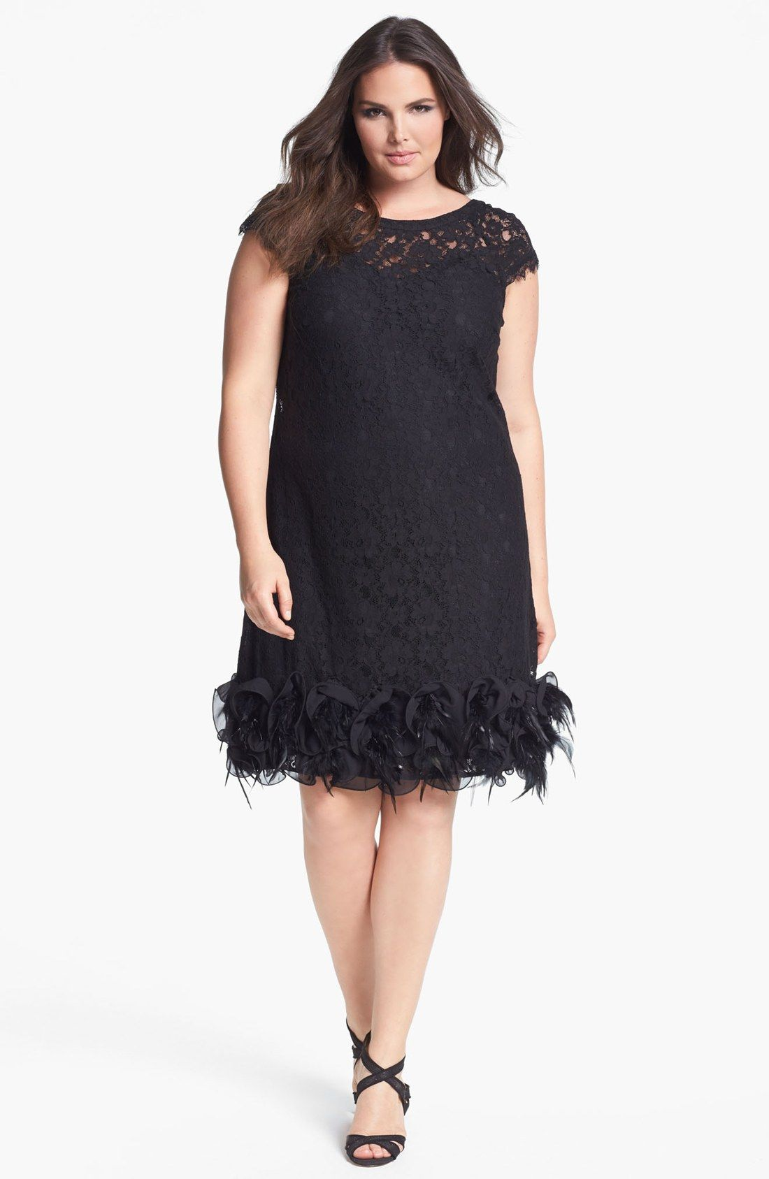 Jessica Simpson Feather Trim Lace Dress Plus Size