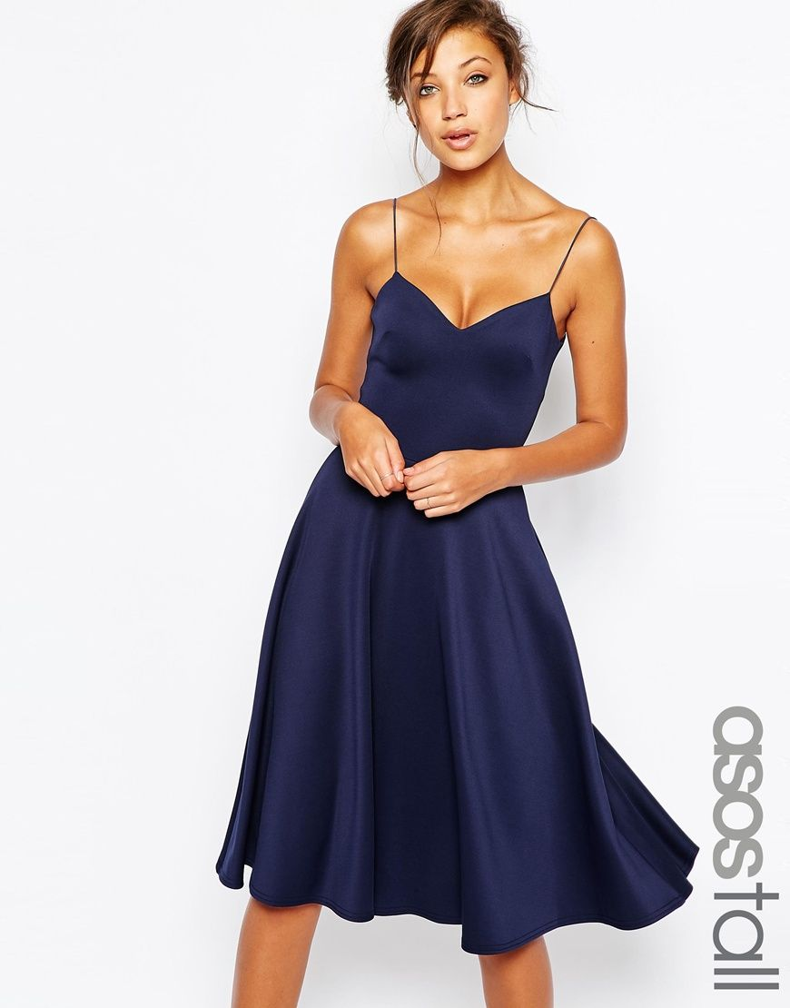 Image 1 of ASOS TALL Scuba Strappy Midi Skater Dress
