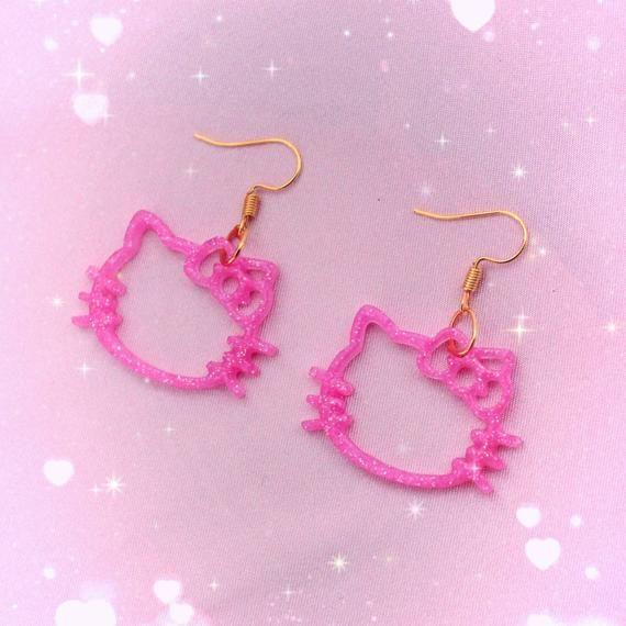 pink kitty earrings ~ cat earrings ~ kawaii jewelry ~ fairy kei ~ y2k ~ pop kei ~ harajuku fashion ~ kawaii earrings