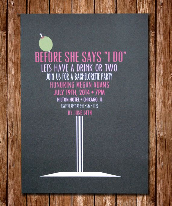 fun and flirty etsy-designed bachelorette party invitations, Party invitations