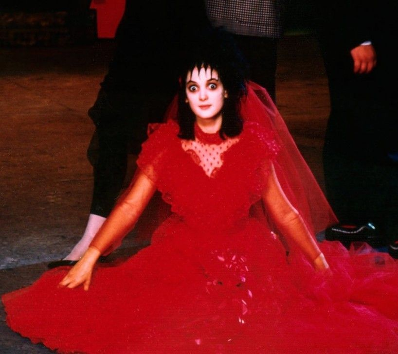 90s Style Inspo Winona Ryder S All Time Best Movie Looks Flare Beetlejuice Wedding Lydia Beetlejuice Beetlejuice,Pink Camo Wedding Dress For Bride